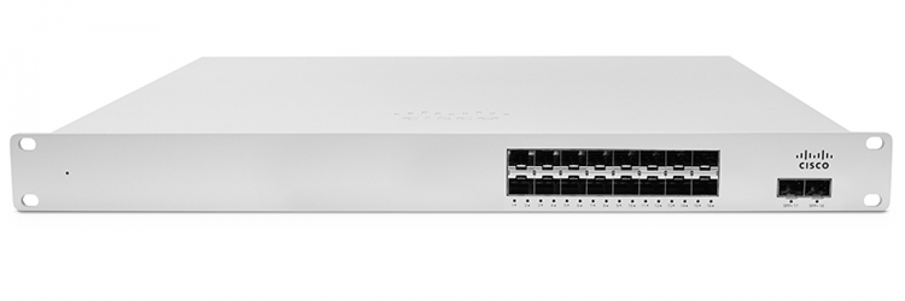 Cisco Meraki MS410-16 Cloud-managed 16 port 1 Gigabit Ethernet aggregation switch with 10 GbE uplinks and physical stacking