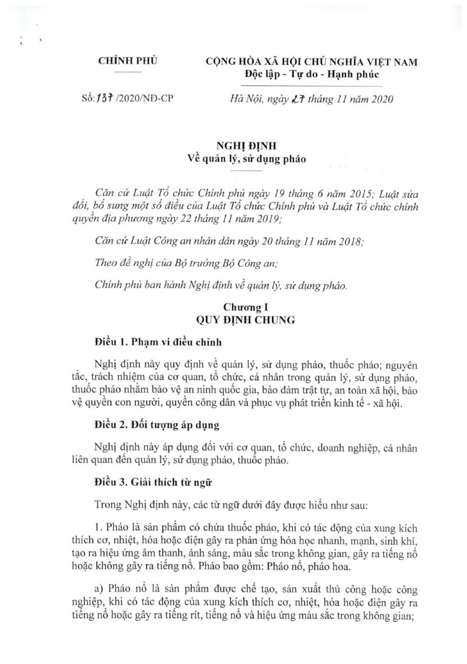 Nghị định số 137/2020/NĐ-CP của Chính phủ : Về quản lý, sử dụng pháo