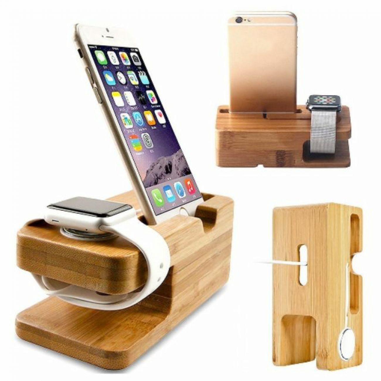 Dock sạc Apple Watch và iPhone bằng gỗ
